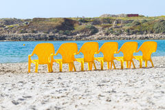 Sea and chairs Royalty Free Stock Images