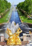 Sea Channel in Peterhof Palace, Russia Stock Photo