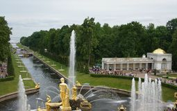 Sea Channel at Peterhof. View of the fountain and the sea channel in Peterhof Stock Photos