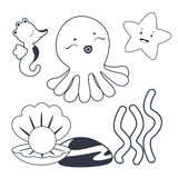 Sea characters  Coloring book. Coloring book illustration Sea characters Stock Photography