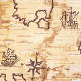 The sea chart. With ships on the order of olden time on birchbark Stock Images
