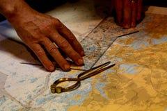 Sea chart and navigation stock photography