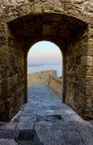 Sea in a chink of Santa Barbara castle in Alicante, Spain Stock Image