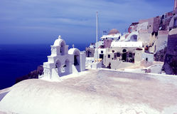 Sea and church on Santorini Island. Stock Photos
