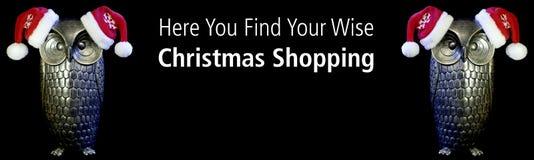 Sea cita inspirada sabia Búhos con el texto aquí usted encontrar sus compras sabias de la Navidad Fondo negro imagenes de archivo