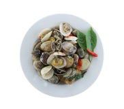 Sea clams or RIDGED VENUS CLAM of Stir sauce in white dish isola Stock Photo
