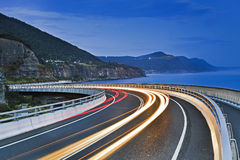 Sea Cliff Bridge Road Bends Lighs Dark Stock Image