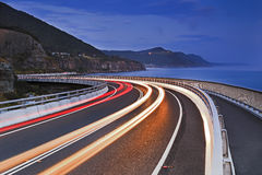 Sea Cliff Bridge Road North LIghts Blue Stock Images