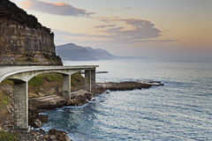 Sea Cliff Bridge Set Light Outside Stock Photo