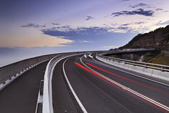 Sea Cliff Bridge South Cars Traces Royalty Free Stock Images