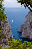 Sea, cliff and Faraglioni view with vegetation frame at Capri Stock Image