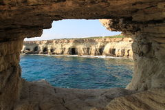 Sea Cliffs and Caves. Cyprus. Cape Greco Cliffs and Caves stock photography