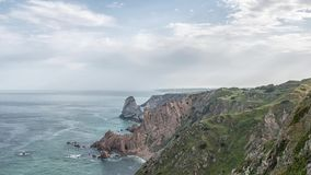 Cabo da Roca `Cape Roca` forms the westernmost mainland of continental Europe. Portugal stock footage
