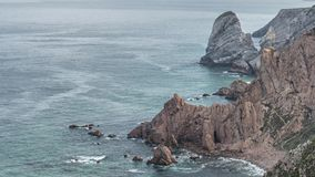 Cabo da Roca `Cape Roca` forms the westernmost mainland of continental Europe. Portugal stock video footage