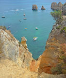 Sea Cliffs at Lagos Algrave Portugal. Royalty Free Stock Photography