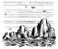 Sea cliffs and seagulls landscape. Seascape cliffs on the shore and seagulls in the sky. Vector Imitation of engraving. Scratch board style hand drawn sketch vector illustration