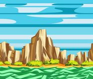Sea cliffs seamless landscape. Seamless landscape pattern with mountains, cliffs, sea and clouds. Cartoon flat border vector stock illustration