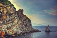 Sea cliffs at sunset. Crimea landscape. Nature background Stock Photography