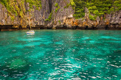 The sea cliffs in Thailand. Cliffs to the turquoise sea in Thailand royalty free stock photo