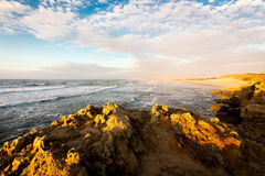 Sea cliffs view city buildings panorama nature beauty. Stock Image
