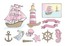 Sea Clip Arts PINK SEA Color Vector Illustration Fairy Ocean Lighthouse Sailing Ship Boat Frigate Starfish Anchor Navigation Map. Sea Clip Arts PINK SEA Color Stock Images