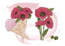 Flower Clipart POPPY ICE CREAM Color Vector Illustration Set Cartoon Picture. Flower Clipart POPPY ICE CREAM Color Vector Illustration Set About Magic Cartoon Stock Photos