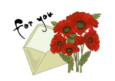 Flower Clipart POPPY AND LETTER Color Vector Illustration Set Cartoon Picture stock illustration