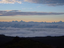 Sea of cloud. Cloud is gathered around the mountains. The cloud stay near high land rather than the sea Stock Images