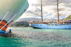 The SEA CLOUD II, a four-masted windjammer invests in Tenerife in the port of Santa Cruz Royalty Free Stock Images