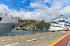 The SEA CLOUD II, a four-masted windjammer invests in Tenerife in the port of Santa Cruz Stock Photo