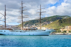 The SEA CLOUD II, a four-masted windjammer invests in Tenerife in the port of Santa Cruz Stock Image