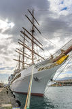 The SEA CLOUD II, a four-masted windjammer invests in Tenerife in the port of Santa Cruz Royalty Free Stock Photo