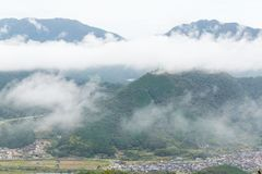 Sea of cloud in the mountain and village. Beautiful landscape at outdoor Royalty Free Stock Photos