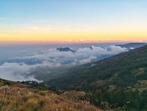 Sea of cloud on the top of mountain. Royalty Free Stock Images