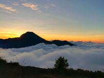 Sea of cloud on the top of mountain. Stock Image