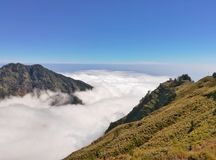 Sea of cloud on the top of mountain. Royalty Free Stock Photography