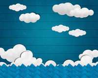 Sea and Cloud on Wooden Background Stock Image