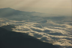 Sea of clouds. See of clouds seen from Mount Fuji at sunrise Stock Photography