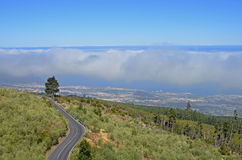 The sea of clouds above Puerto de la Cruz on Tenerife Royalty Free Stock Photo