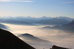 Sea of clouds in the Alps Stock Image