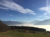 Sea of clouds alps Royalty Free Stock Photo