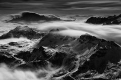Sea of clouds in the Dolomites, Italy, Europe Stock Image