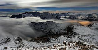 Sea of clouds in the Dolomites, Italy, Europe Stock Photos