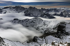 Sea of clouds in the Dolomites, Italy, Europe Royalty Free Stock Photography