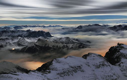 Sea of clouds in the Dolomites, Italy, Europe Stock Photography
