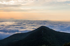 A sea of clouds. From here the clouds are wonderful stock images