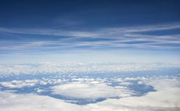 The sea of clouds and view of space stock photo