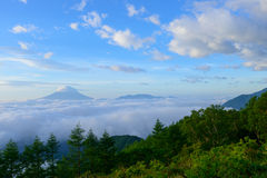 Sea of Clouds and the Mt. Fuji Stock Photos