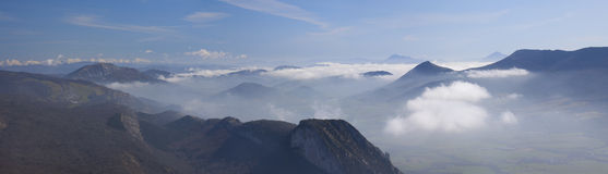 Sea of clouds in Navarre. Stock Photo