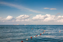 Sea. Clouds over the boats and vessels in Black Sea Stock Images